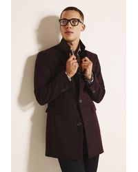 Moss London Slim Fit Berry Overcoat - Red