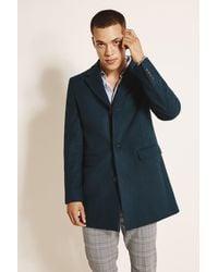 Moss London Slim Fit Teal Overcoat - Green