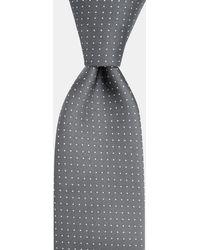 DKNY Silver Pin Dot Silk Tie - Metallic