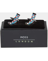 Moss London - Blue & Red Diamond Sock Cufflink - Lyst