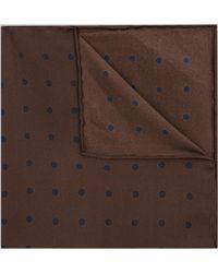 Hardy Amies - Khaki & Navy Spot Silk Pocket Square - Lyst