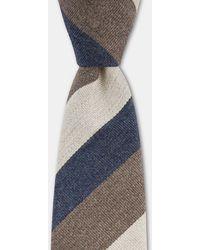 Moss London - Navy, Coffee & Ecru Stripe Tie - Lyst