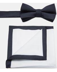 Moss London Navy Textured Bow Tie & Hank Set - Blue