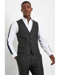 French Connection - Slim Fit Olive Flannel Waistcoat - Lyst