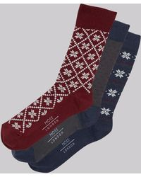 Moss London - Wine & Navy Fairisle Socks Gift Box - Lyst