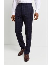 Ted Baker Performance Tailored Fit Navy Windowpanetrousers - Blue