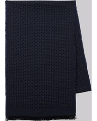 DKNY - Navy Geometric Lightweight Wool Scarf - Lyst