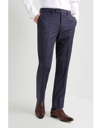 Ted Baker Gold Tailored Fit Blue With Plum Check Pants - Metallic