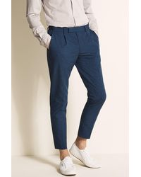 Moss London Slim Fit Ink Linen Blend Single Pleat Cropped Trouser - Blue