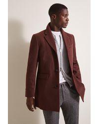 Moss London Slim Fit Rust Overcoat - Brown