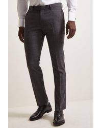 DKNY Slim Fit Charcoal Check Trousers - Grey