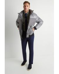 DKNY - Slim Fit Grey Quilted Puffer - Lyst