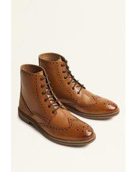 Moss London - Belmont Tan Brogue Boot - Lyst
