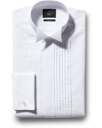 Moss Esq. Regular Fit White Wing Collar Pleat Dress Shirt