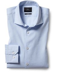 Moss London Slim Fit Sky Linen Stretch Shirt - Blue