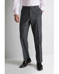 Moss Esq. Regular Fit Grey Mouline Check Trousers