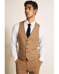 Moss London Slim Fit Camel Waistcoat - Natural