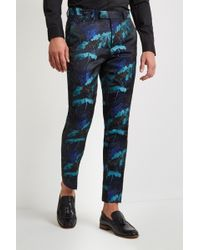 Moss London - Skinny Fit Turquoise Leaf Trousers - Lyst