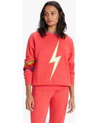 Aviator Nation Bolt Sweatshirt Neon Red