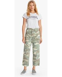 Mother The Patch Pocket Private Ankle Fray Camouflage - Green