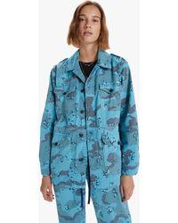 Mother The Oversized Veteran Jacket Mushroom Mayhem Horizon Blue