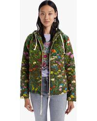Mother The Double Draw Zip Hoodie Jacket Sleeping In The Garden - Green