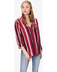 Mother Beau Long-sleeve Striped Lounge Shirt - Red