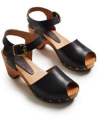 Lisa B Peep Toe Clogs - Black