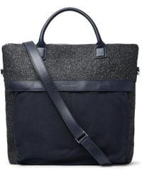 Want Les Essentiels De La Vie - O'hare Ii Leather-trimmed Mélange Flannel And Canvas Tote Bag - Lyst