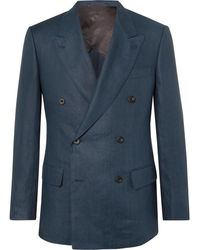 Kingsman - Navy Slim-fit Double-breasted Linen Suit Jacket - Lyst