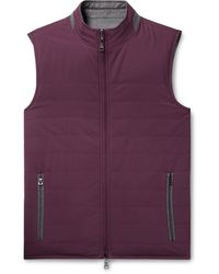 Peter Millar All-weather Flex Reversible Quilted Shell And Wool Gilet - Purple