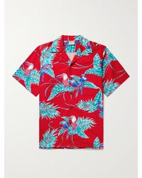 Go Barefoot Tropical Birds Camp-collar Printed Cotton Shirt - Red