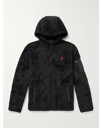 Polo Ralph Lauren Logo-embroidered Recycled Fleece Hoodie - Black