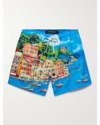 Ermenegildo Zegna Capri Slim-fit Mid-length Printed Swim Shorts - Blue