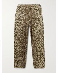 WTAPS Seagull Leopard-print Cotton-twill Drawstring Trousers - Multicolour