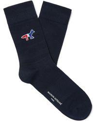 Maison Kitsuné Logo-jacquard Cotton-blend Socks - Blue