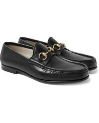 Gucci Roos Horsebit Burnished-leather Loafers - Black