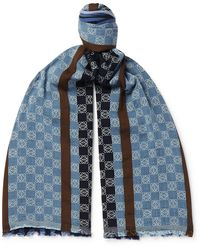 Loewe Fringed Logo-embroidered Striped Cotton Scarf - Blue