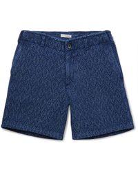 Eidos - Morgan Sashiko-stitched Indigo-dyed Cotton Shorts - Lyst