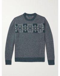 Peter Millar Merino Wool-blend Jacquard Jumper - Blue