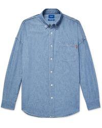 4c1b584ffb9 Beams Plus - Button-down Collar Indigo-dyed Cotton-chambray Shirt - Lyst