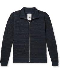S.N.S Herning Virgin Wool Zip-up Cardigan - Blue