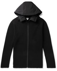 Bottega Veneta - Hooded Shell-trimmed Ribbed Wool-blend Zip-up Sweater - Lyst