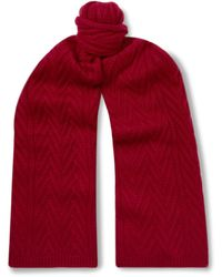 Loro Piana Baby Cashmere Cable-knit Scarf - Red
