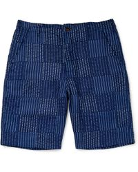 Universal Works - Wide-leg Panelled Indigo-dyed Cotton Shorts - Lyst