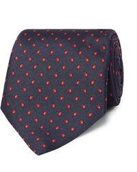 Dunhill 8.5cm Printed Mulberry Silk Tie - Blue