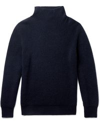 The Row Jackson Ribbed Cashmere Rollneck Jumper - Blue
