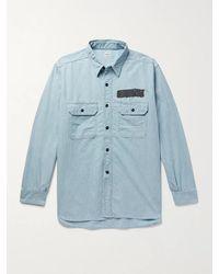 Chimala Paint-detailed Cotton-chambray Shirt - Blue