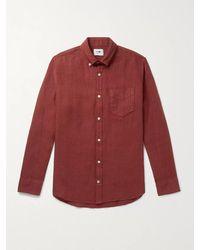 NN07 Levon Button-down Collar Linen Shirt - Red