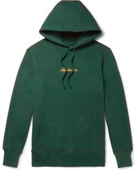 Aimé Leon Dore Slim-fit Logo-embroidered Loopback Cotton-jersey Hoodie - Green
